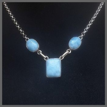 3 Stone Rectangular Larimar Necklace